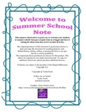 Summer School Welcome Note