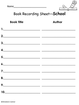 Reading Book Log Journal Recording forms Classroom Home School  Printables