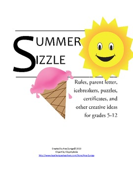 Summer School/Camp Rules, Icebreakers, Puzzles, Certificat