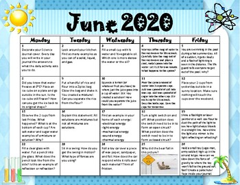 Summer Science Calendar
