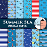 Sea Summer Digital Paper / Pattern