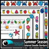 Summer Season Colored Doodle Borders Clip Art