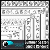 Summer Season Doodle Borders Clip Art
