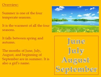 Summer Season - Power Point with review article activities vocabulary etc.
