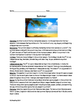 Summer Season - Review Article Questions Vocabulary Writing Word Search