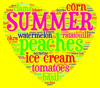 Summer Seasonal Ingredients Food Poster/Clip Art for Decor or Culinary Lessons
