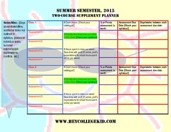 Summer Semester TWO-COURSE Planner Supplement