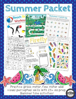 Summer Sensory Motor Packet - Fine, Gross and Visual Motor Activities