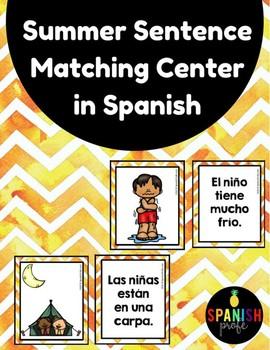 Summer Sentence Matching Center in Spanish Centros emparejar oraciones fotos