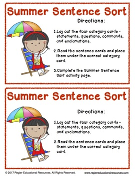 Summer Sentence Sort: Literacy Center Activity