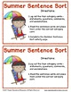Summer Sentence Sort: Literacy Center Activity