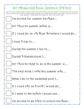 Summer Sentence Starters Worksheets & Teaching Resources | TpT
