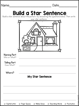 Summer Sentence Structure - Naming and Telling Parts of a Sentence