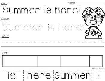 Summer Sentences {Read-Trace-Write-Glue}