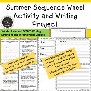 Summer Sequence Wheel Activity and Differentiated Writing Project or Center