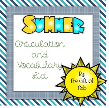 Summer Series Articulation and Vocabulary List