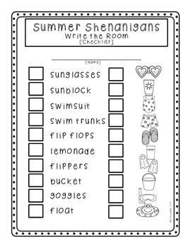 Summer Shenanigans: Write the Room
