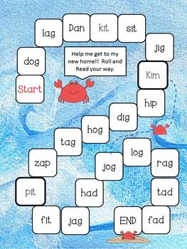 Summer Short Vowel Board Games (CVC CVCC digraphs)