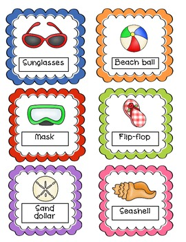 Common Core Summer Themed Vowel Anchor Charts, Center, & Assessment