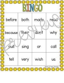 Summer Sight Word Bingo {Dolch 2nd Grade}