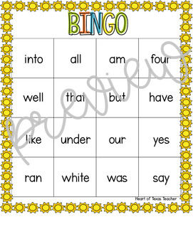 Summer Sight Word Bingo {Dolch Primer}