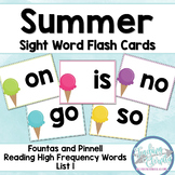 Summer Sight Word Flashcards (Fountas & Pinnell list 1)