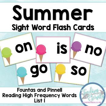 Summer Sight Word Flashcards (Fountas & Pinnell list 1)