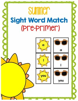 Summer Sight Word Match