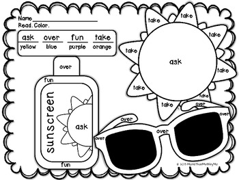 Summer Sight Word Pictures plus Practice Printables-1st grade Dolch words