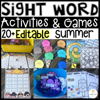 Summer Sight Word Printables, Games and Activities  {EDITABLE}