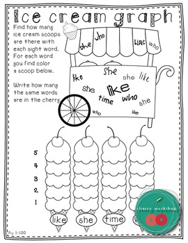 Summer Sight Words {Ice cream graphing} FRY 1-100 Edition {Print & Go}