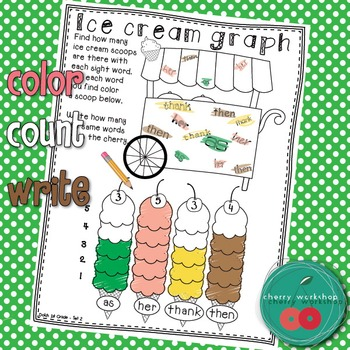 Summer Sight Words {Ice cream graphing} First Grade Edition {Print & Go}