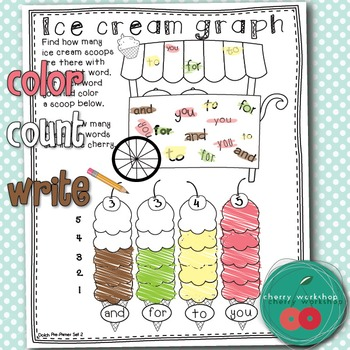 Summer Sight Words No Prep {Ice cream graphing} Dolch BUNDLE {Print & Go}