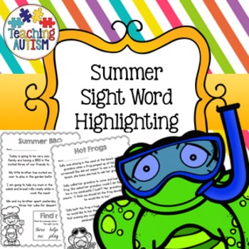 Summer Sight Words, Read and Highlight