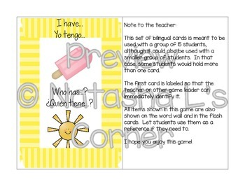 Summer Sights Word Wall and Flash Cards (English and Spanish)