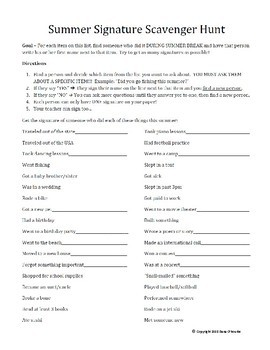 Summer Signature Scavenger Hunt