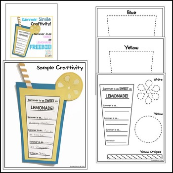 Summer Simile Craftivity - Summer is as Sweet as Lemonade - FREEBIE!