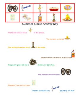 Summer Similes: a fun figurative language cut & paste warm weather activity