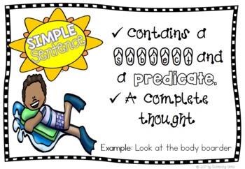 Summer Simple and Compound Sentences Anchor Charts - Freebie