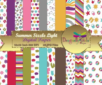 Summer Sizzle Light Version digital paper, commercial use, scrapbook papers