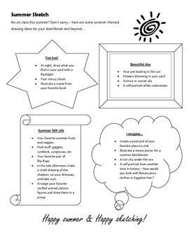 Summer Sketch Idea sheet