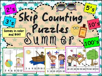 Summer Skip Counting Puzzles