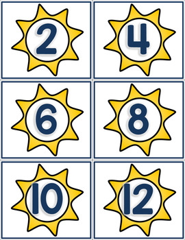 Skip Counting Cards - Summer Sun Themed