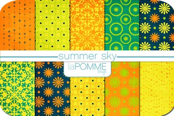 Summer Sky Bright Blues, Yellows, Oranges, Greens Digital Paper Pack