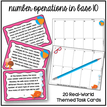 4th Grade End of Year Math Review Activities Word Problems Task Cards