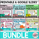 4th Grade Review Task Cards | End of Year Summer Math BUNDLE