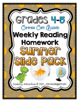Summer Slide {Grades 4-5 Common Core Weekly Reading Homework}
