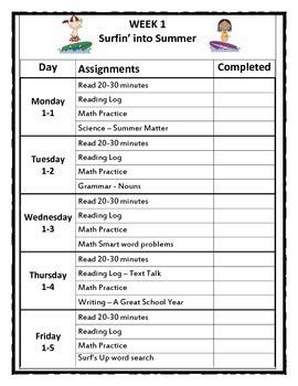 Summer - Second Grade Summer Review Activity packet