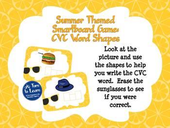Summer Smartboard Game: CVC Word Shapes Spelling (Smartboard/Promethean Board)
