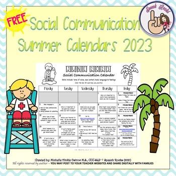 Summer Social Communication Calendars 2017 {FREEBIE}